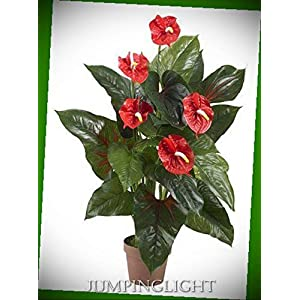 JumpingLight 6619 3? Anthurium Silk Plant (Real Touch) Artificial Flowers Wedding Party Centerpieces Arrangements Bouquets Supplies 7
