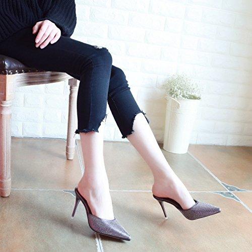 profonda ladies' In europeo con YMFIE in stile tacchi sexy alti belle poco Golden sandali appuntiti paillettes parte estate 6tq0dtx