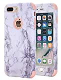 iPhone 8 Plus Case - iPhone 7 Plus Case - Ankoe Marble Stone Pattern Shockproof Full Body Protective Cover Dual-Layer Slim Soft Flexible Silicone and Hard PC for Apple iPhone 7 Plus 8 Plus (Pink)