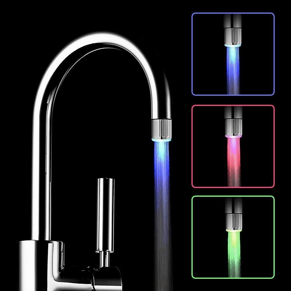 Luminosa del Rubinetto LED Water Aerator Faucet con 3 Colori Cambia Controllo della Temperatura Per Stanza da Bagno Cucina Giardino
