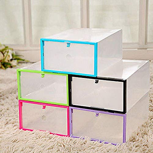 (DeemoShop Clear Transparent Drawer Case Plastic Shoe Boxes Storage Holders Organizer Stackable)