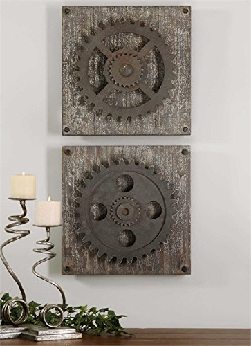 Ambient Rust Bronze Details Accented With Heavily Distressed Aged Ivory Over Rustic Wood Rustic Wall Art by Ambient