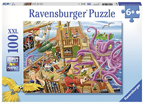 Ravensburger Pirate Boat Adventure 100 Piece Jigsaw Puzzle for Kids - Every Piece is Unique, Pieces Fit Together -