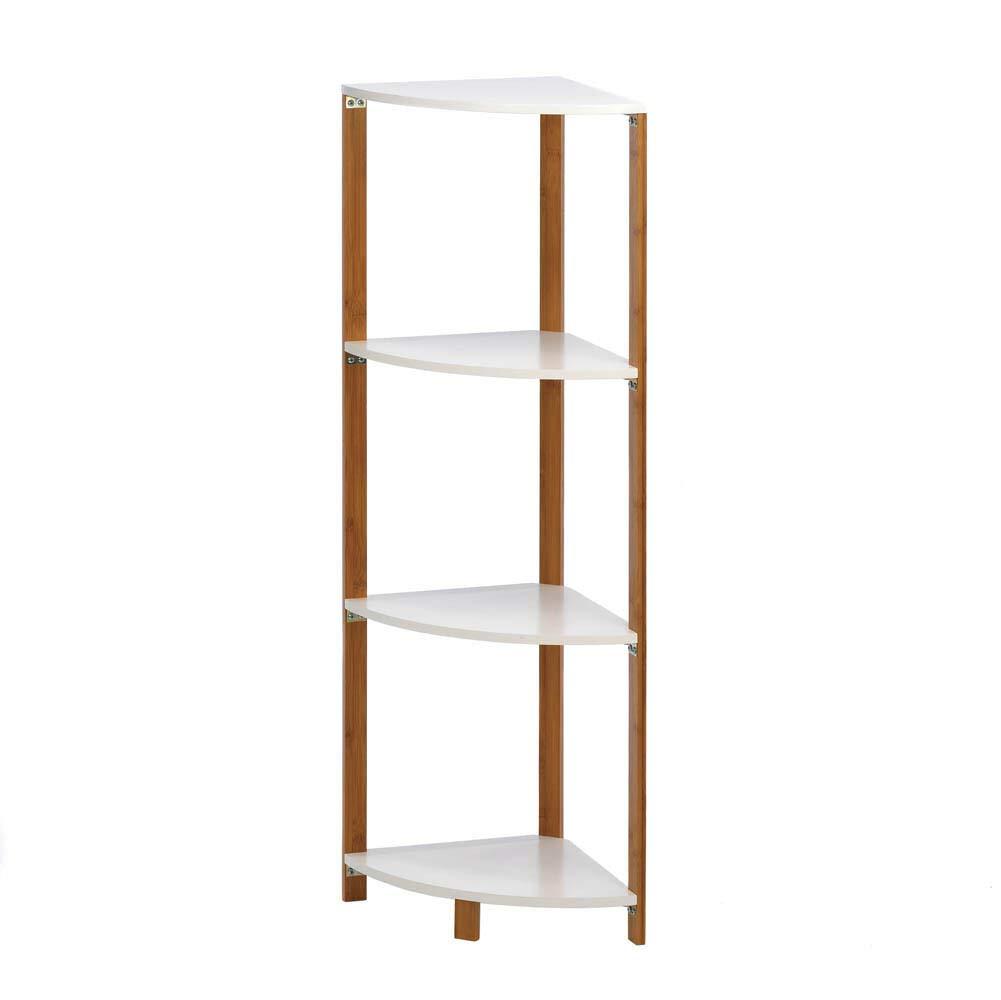RX-789 Wood Metal Bamboo Sleek Frame Corner Shelf Display Stand Shelves White 16.8''x11.9''x41.5'' by RX-789