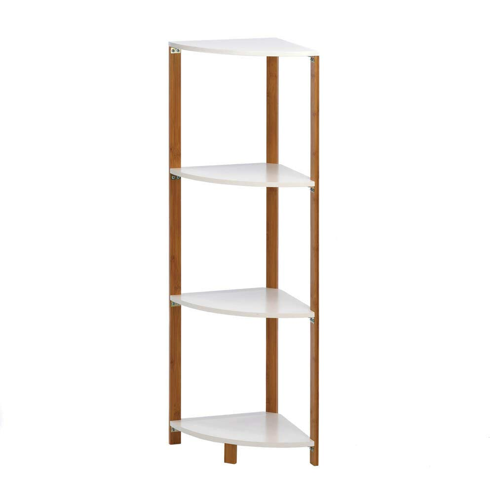 RX-789 Wood Metal Bamboo Sleek Frame Corner Shelf Display Stand Shelves White 16.8''x11.9''x41.5''