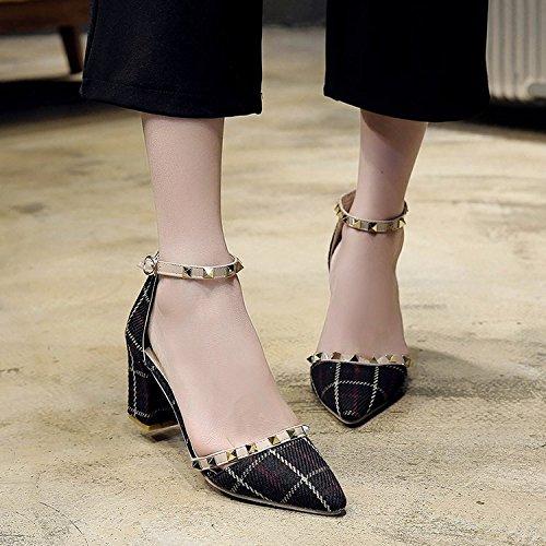 alla reticoli RUGAI estate ruvido e UE aguzze tallone moda tacco scarpe con appuntite donna scarpe Rice Sandali da white primavera donna temperamento da tacco ed qwYpq0r