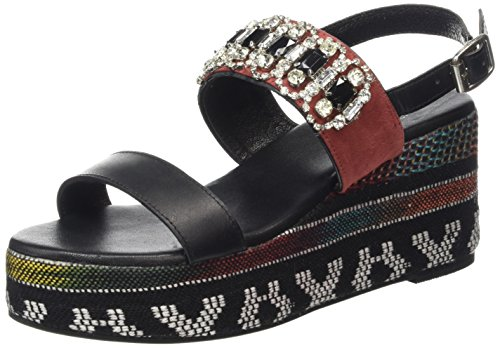 Noir Wedge Ethnic Femme with Ethnic Sandals Wedge Strass Sandals TANTRA Sandales TANTRA AwSqSRP