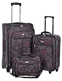 Millenium Fireworks 3 Piece Checked and Carry On with Tote Bag Luggage Set (Purple)
