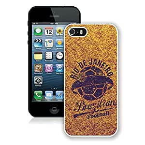 iPhone 5S Case,2015 Hot New Fashion Stylish Brazilian Football White Case Cover for iPhone 5S