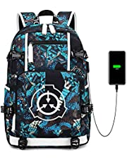 SCP Canvas Shoulder Daypack, Anime Backpack Teenager Gifts Boys, USB Charging Backpack Water Resistant for Work College School Outdoor, High School Bookbag for Teens