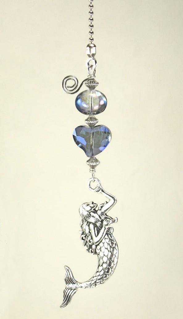 Purple-Blue Iridescent Faceted Glass Heart, Water Bubble and Silvery Metal Mermaid Ceiling Fan Pull Chain