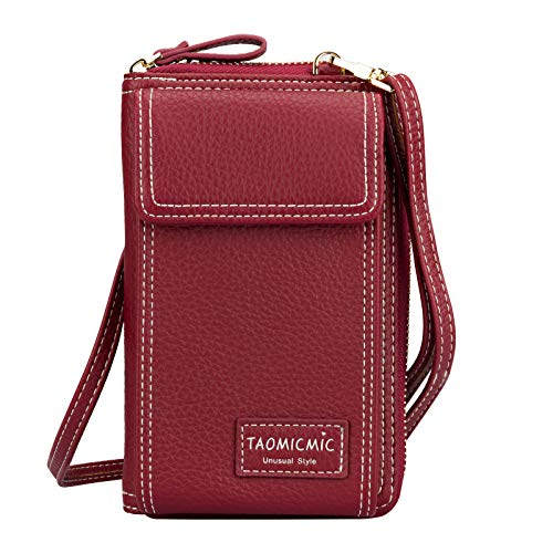 Leather Cellphone Purse, Techcircle Small Crossbody Bag with Detachable Shoulder Strap Card Holder Zipper Wallet for iPhone Xs Max Xr 8 Plus, Galaxy S9 S7 Edge, Google Pixel 3 XL, LG G7 ThinQ, Red