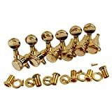 IKN 6pcs Right Hand Electric Guitar Tuning Pegs Keys 6R Locking Machine Heads, Golden