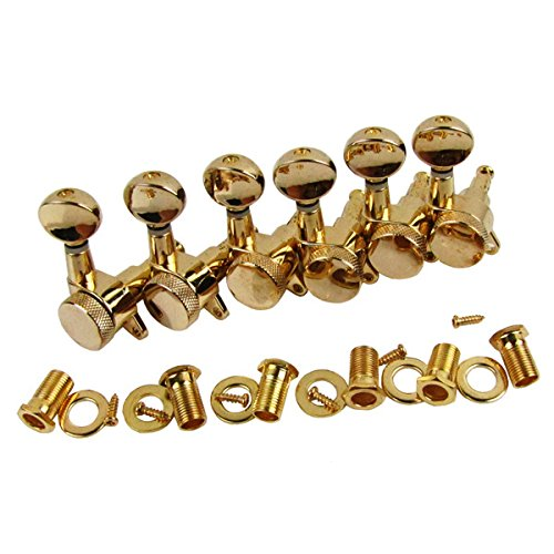 IKN 6pcs Right Hand Electric Guitar Tuning Pegs Keys 6R Locking Machine Heads, Golden by IKN