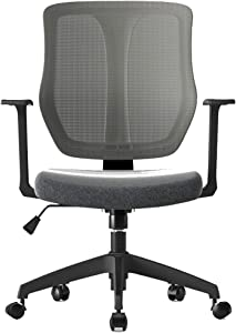 Chairs,Offce Chair Ergonomic Computer Chair Study Table and Chair Modern Simple Swivel Chair Office Chair Seat Learning Chair WEIYV (Color : Black, Size : 620-745mm)