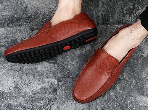 Cuero Seaoeey Hombre De Zapatos Planos Marrón Cordones Con wXBaqXg