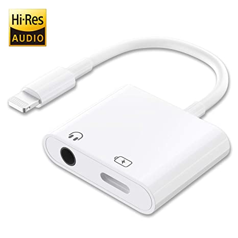 Litogo Adaptador Auriculares para iPhone, 2 en 1 Adaptador Lightning Jack 3,5mm Aux Adaptador Cascos de Audio y Cargador para iPhone X/XS/XS ...