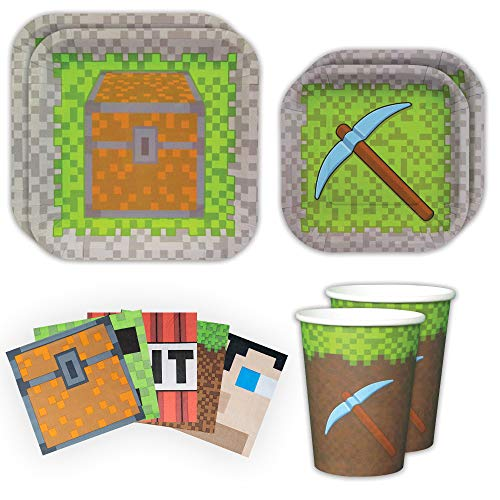 Blue Orchards Mining Fun Standard Party Packs (65+ Pieces for 16 Guests!), Minecraft Inspired, Pixel Party Supplies, Birthday Parties]()