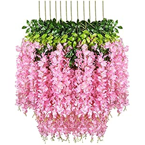 Fourwalls Artificial Polyester and Plastic Hanging Orchid Flower Vine (110 cm Tall, Dark Pink, Set of 6)