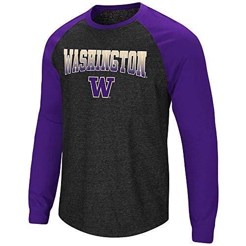 Colosseum Mens Washington Huskies Long Sleeve Raglan Tee Shirt - L