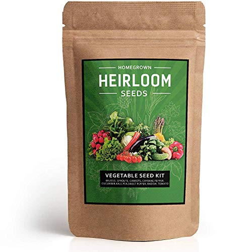- Heirloom Vegetable Seeds [10 Variety] - Non GMO Vegetable Seeds For Planting Indoor or Outdoors, Brussel Sprouts, Carrots, Peppers, Cucumber, Kale, Romain, Peas, Radish, Tomato Seed - Prepper Supplies