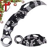 Karambit Neck Fighting Folding Knife - Pocket Claw Knife with Camo Blade - Best Sharp Hawkbill Knife With Metal Finger Ring Handle And Pocket Clip - Tiger Blur Knife For EDC Survival