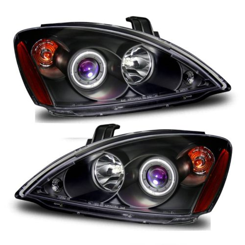 SPPC Projector Headlights Black Assembly Set (CCFL Halo) for Mitsubishi Lancer - (Pair) Driver Left and Passenger Right Side Replacement (Mitsubishi Lancer Set)