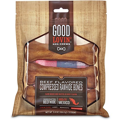 Good Lovin' Beef Flavored Compressed Rawhide Bone Dog Chew, 5-inch, Pack of 3, 5.8 OZ ()