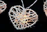 Handmade 20 Natural White Heart Rattan Ball String Lights Christmas Home Party String Lights Kids Adults Bedroom Night Lights Wedding Birthday Lights
