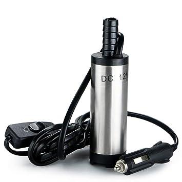 flintronic Bomba de Agua y Aceite, 12V Bompa Sumergible de Acero Inoxidable Bomba de Combustible