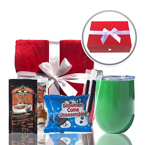 Christmas Gifts Christmas Blanket Set- Includes Luxury Red Blanket, Insulated Mug, Hot Chocolate, Candy & Marshmallows Presents Arrive in Beautiful Gift Box with Holiday Ribbon (Christmas Gifts Cozy)
