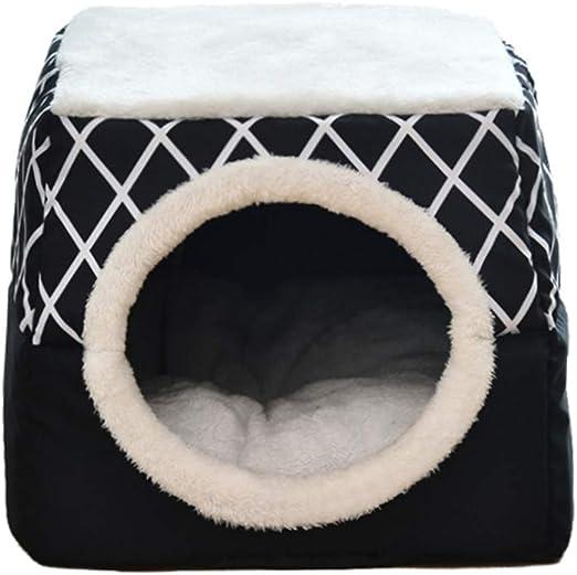 Oferta amazon: ChuangRong Cueva de Gato Cachorro Plegable Cama para Mascotas Nido Acogedor Calentito con Cojín Extraíble Casa Sofá para Perro Pequeño Gato Negro XL