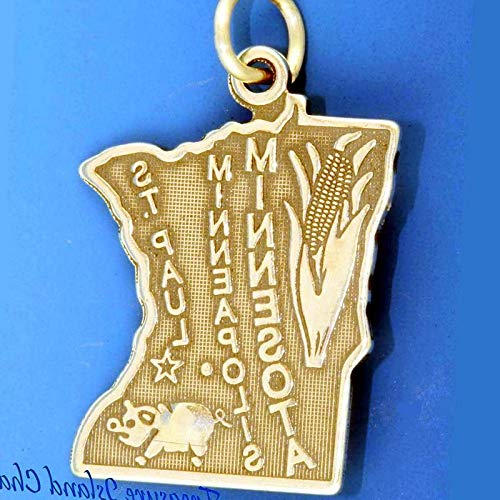 Lot of 1 Pc. Minnesota State Map Minneapolis .925 Sterling Silver Charm Pendant Vintage Crafting Pendant Jewelry Making Supplies - DIY for Necklace Bracelet Accessories by CharmingSS ()