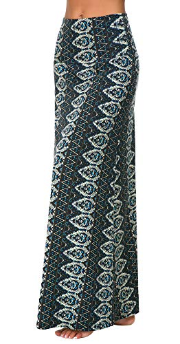 EXCHIC Women's Bohemian Style Print Long Maxi Skirt (L, 2)