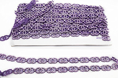 (Trimming Shop Ribbon With Clear Rhinestones - Diamante Chain For Trim And Embellishment - Violet Cord With Fake Diamond - Glass Crystal For Jewellery,Clothing,Arts And Crafts 1 Yard Purple)