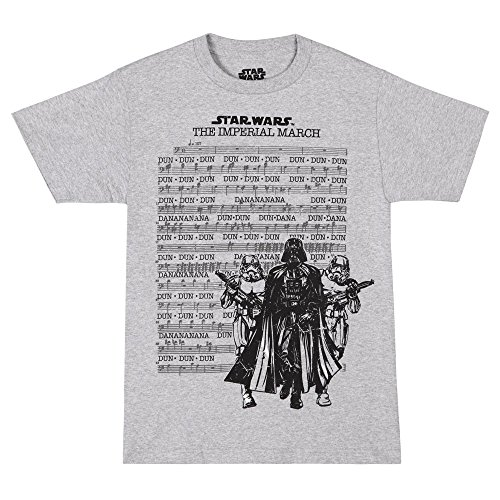 Star Wars Imperial March Sheet Adult T-shirt - Heather Grey (Medium) (Star Wars Imperial March Flute Sheet Music)