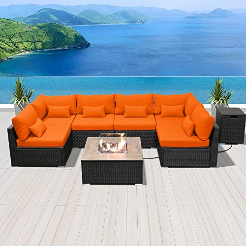 Modenzi Outdoor Sectional Patio Furniture with Propane Fire Pit Table Espresso Brown Wicker Resin Garden Conversation Sofa Set (G7 Sofa Square Fire Pit, Orange)