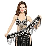 Dance Fairy Tassels Belly Dance Bra-Halter Handmade Shiny Flower Rhinestone Bra 36D with Belt & Bra Extender,Black