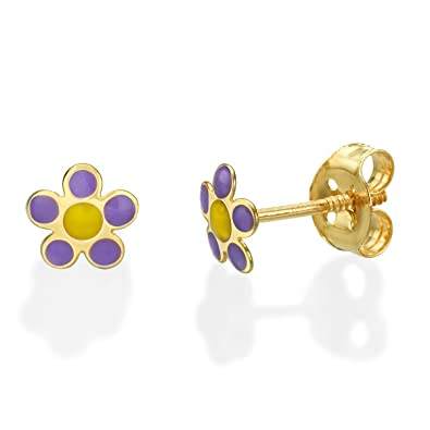 Amazon Com 14k Yellow Gold Flower Screwback Stud Earrings Girls