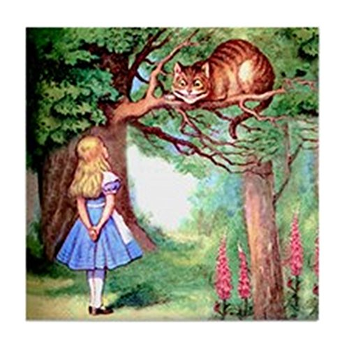 CafePress - Alice & The Cheshire Cat - Tile Coaster, Drink Coaster, Small Trivet ()