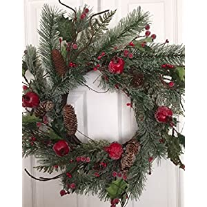 Adirondack Crabapple Winter Wreath 22 Inches Handcrafted With Bright Red Apples Artificial Greens And Pine Cones Hang On The Front Door For The Winter Holiday Season 5