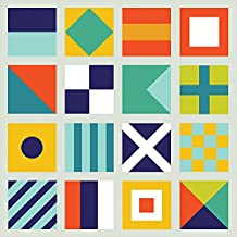 Oopsy Daisy Sailing Flags Canvas Wall Art by Ampersand Design Studio, 14 by 14-Inch
