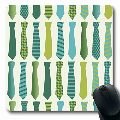 Ahawoso Mousepad Oblong 7.9x9.8 Inches Necktie Blue Tie Neckties Pattern Green Houndstooth Vintage Diagonal Design Mouse Pad Non-Slip Rubber for Notebook Laptop PC Computer