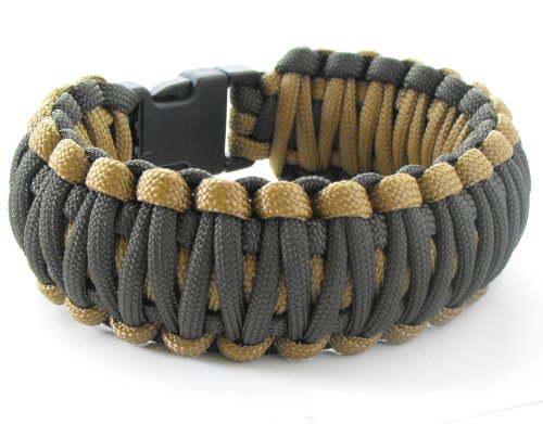 King Cobra Paracord Survival Bracelet(550 lb tested cord)-6 Wrist Sizes-12 Plus Colors-Reversable (Coyote Brown and Olive Drab, 7.5