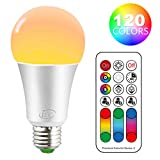 iLC Color Changing LED Light Bulb A19 E26 Screw, 120 Colors 10W Dimmable Warm White 2700K RGB LED Light Bulbs with Remote Control, 60 Watt Equivalent