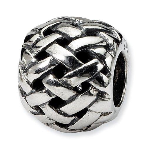 Silver Diamond Basketweave - Sterling Silver Reflections Basketweave Bali Bead Strands-of-beads