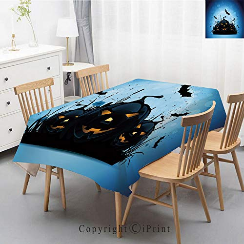 Washable Square Cotton Linen Print Tablecloth,Vintage Dinner Picnic Table Cloth Home Decoration Assorted Size,40x60 Inch,Halloween,Scary Pumpkins in Grass with Bats Full Moon Traditional Composition -