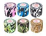 2 Inch Vet Wrap Tape Self Adhesive Medical Bandage Free Bonus Rolls (Assorted Camo) (5 Pack Plus Free Roll) Self Adherent Cohesive First Aid Sport Flex Wrist Ankle Knee Sprains and Swelling