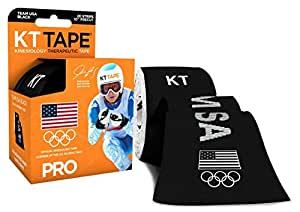 KT TAPE PRO Synthetic Kinesiology Sports Tape, Water Resistant and Breathable, 20 Precut 10 Inch Strips, Team USA Olympic Edition, Black