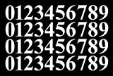 0-9 Numbers White Vinyl Sticker Decals Assorted Set of 40 Choose Size!! 1'' to 12'' (V646WhiteTimes) (8'')
